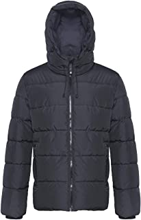 Rokka&Rolla Men's Water Resistant Hooded Thermal Reflective Winter Coat Thickened Quilted Puffer Jacket