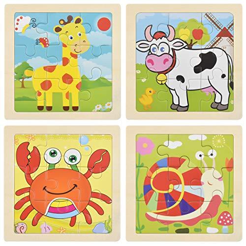 Puzzles de Madera para Niños, Rompecabezas Madera Niños, Juguete Educativo para Niños Pequeños 2, 3, 4, 5 Años, Puzzle Madera Animales, Regalo para Niños