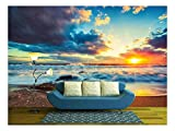 wall26 - Beautiful Cloudscape Over The Sea, Sunrise Shot - Removable Wall Mural | Self-Adhesive Large Wallpaper - 100x144 inches