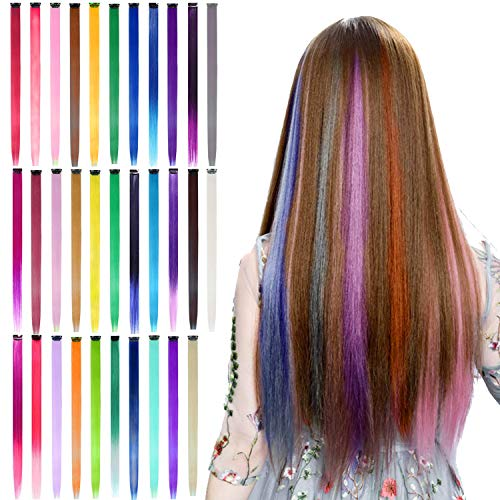 32Pcs Colored Clip in Hair Extensions, BeaHot 20'' Rainbow Long Straight Highlights Hairpieces Clip in Synthetic, Halloween Cosplay Dress Up Fashion Party Christmas New Year Gift for Women Kids Girls
