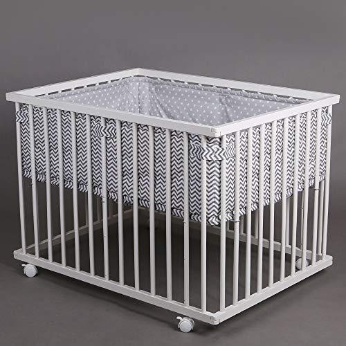 Parc bébé de luxe parc enfant 100x75cm parc de bebe TIGGO blanc - gris 46500 Star&Wave