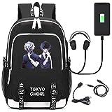 YOYOSHome Anime Tokyo Ghoul Cosplay Bookbag Daypack Laptop Bag Backpack School Bag with USB Charging Port