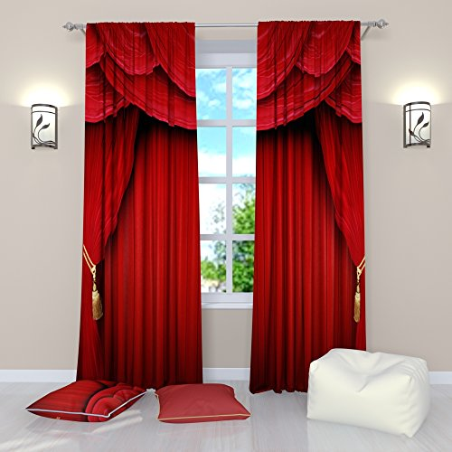 Factory4me Movie Theater Curtains Rod Pocket Room Darkening Drapes Window Panels Set of 2 Red Curtains 84 inch Length for Bedroom Living Room Home Movie Theatre