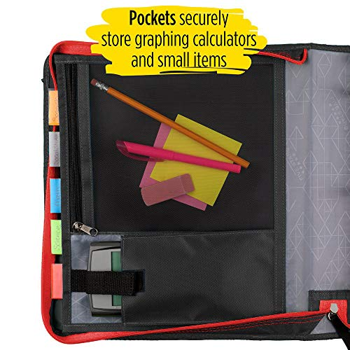 Five Star 2 Inch Zipper Binder, 3 Ring Binder, Expansion Panel, Durable, Red/Black (29052CE8) Photo #5