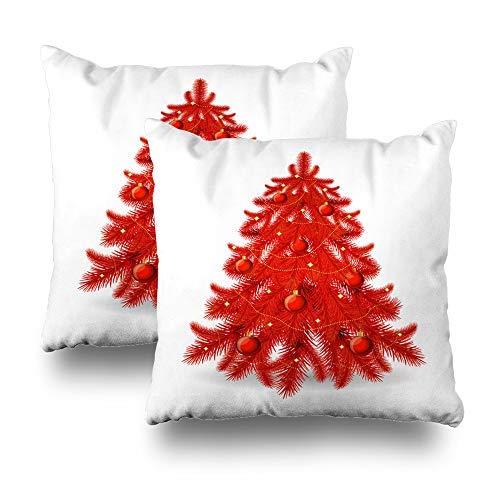 GFGKKGJFD Juego de 2 fundas de cojín con bolas de árbol de Navidad rojo blanco y rojo, 18 x 18 cm, para sofá, adolescentes, niñas, regalos