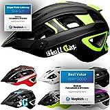 Skullcap Unisex Fahrradhelm MTB Mountainbike Helm, Schwarz/Neon-Grün matt - Visier/Helmschild, Größe L (59-61 cm)