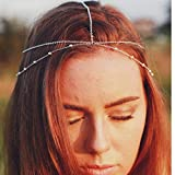Ursumy Layered Beaded Head Chain Wedding Headpiece Indian Hair Jewelry Festival Bridal Head Accessories for Women and Girls (Sliver)