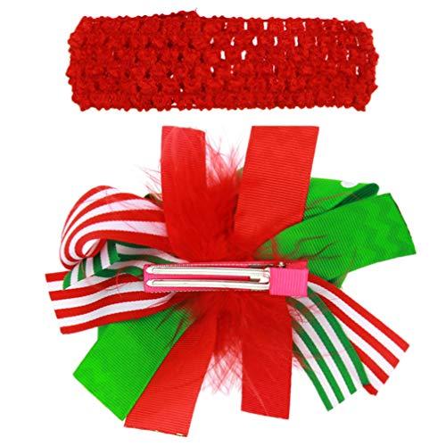 Lurrose 2 Pcs Bandes De Cheveux Stretch Crochet Élastique Bowknot Rouge De Noël Ruban Coiffe Barrette Cheveux Wrap Épingle à Cheveux pour Enfants Bébé Parti Photographie