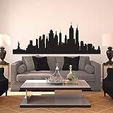 ASFGA Nueva York Skyline Silueta patrón Pared calcomanía Vinilo decoración del hogar Sala de Estar Dormitorio Arte avión Etiqueta de la Pared 156x57cm