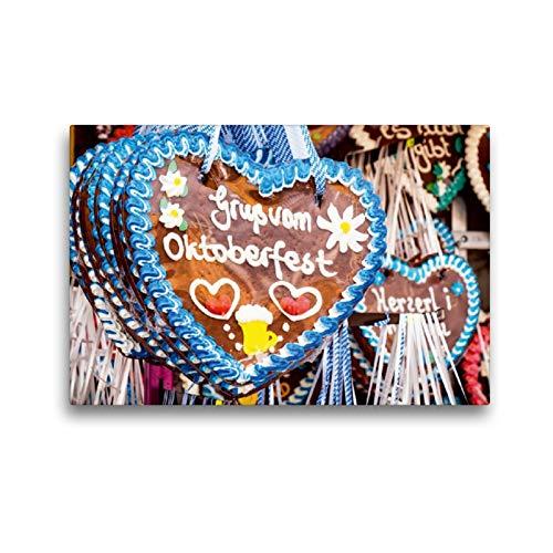 Calvendo Premium Textil-Leinwand 45 cm x 30 cm Quer, Gruß vom Oktoberfest | Wandbild, Bild auf Keilrahmen, Fertigbild auf Echter Leinwand, Leinwanddruck: Geschmackvolle Lebkuchenherzen Spass Spass