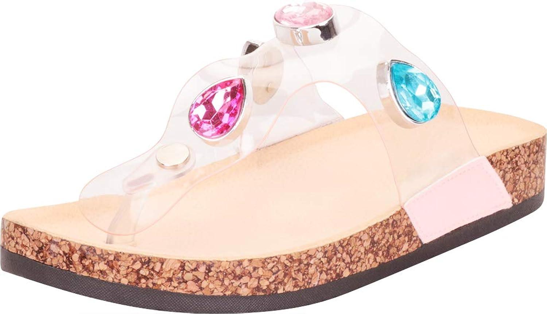 Cambridge Select Women's Thong Toe Clear Crystal Rhinestone Slip-On Flat Slide Sandal