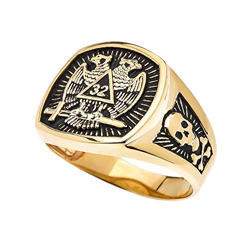 Men's 10k Yellow Gold Scottish Rite 32nd Degree Skull and Crossbones Masonic Ring (Size 12)