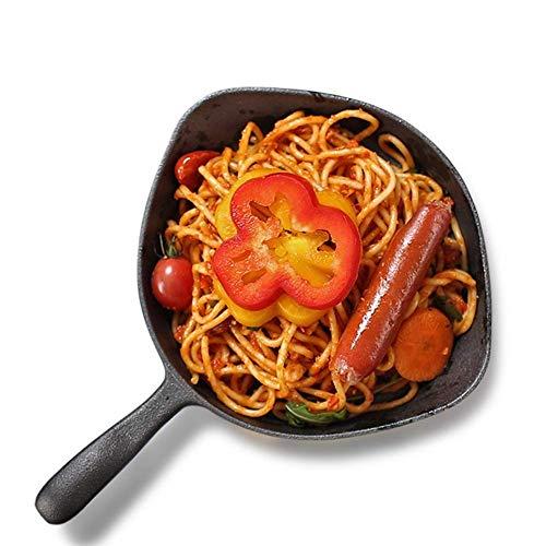 QZH Sartén/sartén Redonda de Hierro Fundido Se Aplica Compatible con Utensilios de Cocina para Interiores y Exteriores sin Recubrimiento, de una Pieza, se Aplica Compatible con inducción y Gas, ne