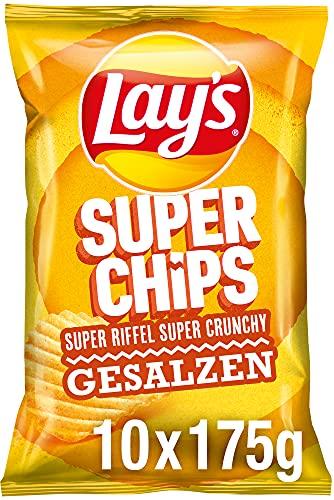 Lay's Superchips Gesalzen – Knusprig gesalzene Kartoffelchips für eine gelungene Party – 10 x 175g
