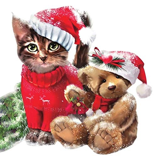 Christmas Cat Diamond Painting Art - PigPigBoss 5D DIY Full Drill Diamond Embroidery Crystals Diamond Dots Kits Cross Stitch Christmas Decor Gift for Adults (11.8 x 11.8 inches)