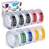 Hehua 10 Pack Compatible Dymo 3D label tape 9mm x 3m Multicolor Cinta de Etiquetas para Dymo Omega Junior 1540 Motex E-101 E-303 Etiquetadora(10-Pack)