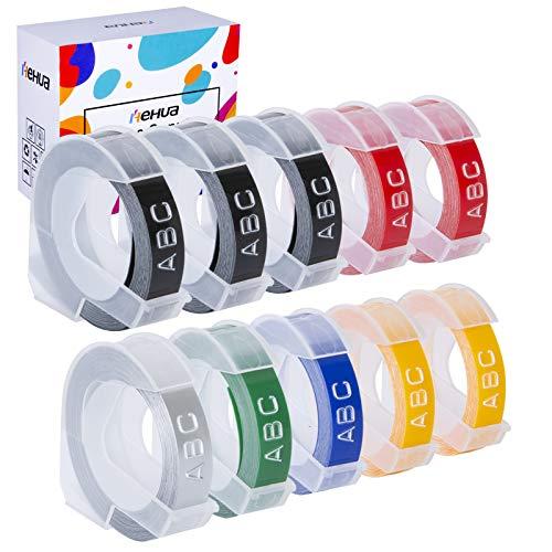 Hehua 10 Pack 3D Prägeband 9mm Ersatz für Dymo 3d, Kompatibel mit Dymo Etikettenband 3d für Omega Junior Beschriftungsgerät (Weiß auf Schwarz/Rot/Grün/Gelb/Blau/Silber)