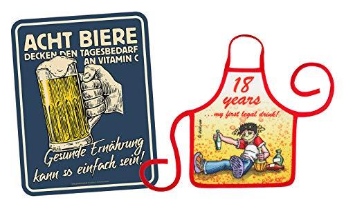 Mega Shirt Gift Set voor de 18e verjaardag metalen bord met kleine schort Set acht bierdeken de dagbehoefte aan vitamine C gezonde voeding & 18 Years 234 jaar 234 jaar