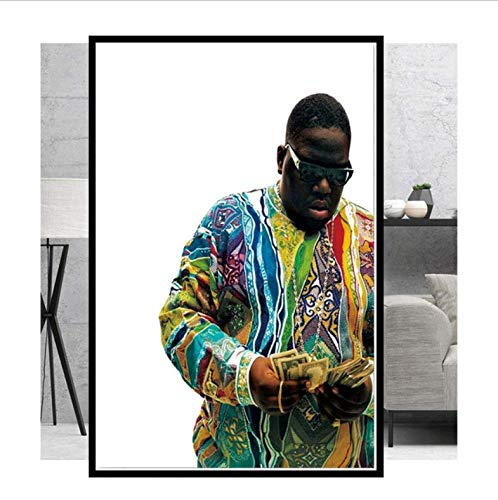 tgbhujk The Notorious B.I.G Biggie Smalls Gangsta Rap Smoke Star 2PAC Art Painting Poster Print Wall Pictures for Living Room Home Decor 50 * 75 cm Without Framed