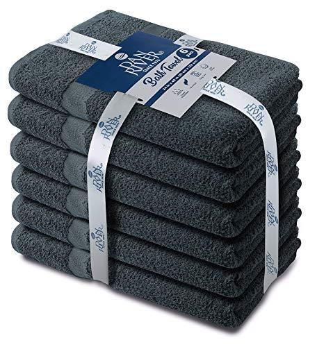 DAN RIVER 100% Cotton Bath Towels Set Pk 6-Ultra Soft Large Bath Towel-100% Cotton Gray Towel Set-Highly Absorbent Daily Usage Bath Towel-Ideal for Pool Home Gym Spa Hotel-Bath Towel Set 24 x 48