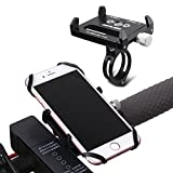 GUB Bicycle & Motorcycle Phone Mount, Aluminum Alloy Universal Bike Handlebar Phone Mount Holder Adjustable Compatible with iPhone X XR Xs 7s 8 Plus,Compatible with SamsungS9/S8/Note(Black with Band)