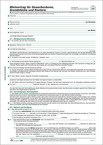 RNK 590 - Contrato de alquiler para locales comerciales, terrenos y contornos, 6 páginas, DIN A4, 10 unidades