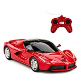 RASTAR Ferrari Toy Car, 1:24 RC Ferrari LaFerrari Model Car for Kids - Red, Random Frequency