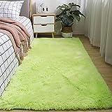 GaoTuo Alfombras Suaves de Terciopelo, alfombras Modernas y esponjosas, Lindas alfombras de Dormitorio peludas, adecuadas para su Uso como alfombras de Dormitorio(Verde,80x120cm)