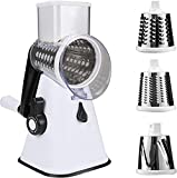 Cortador Sumo 3 en 1, rallador de tambor, lijado, corte, fricción, función fija, reutilizable, rallador, cortador de verduras, triturador de verduras, triturador de cocina, color blanco