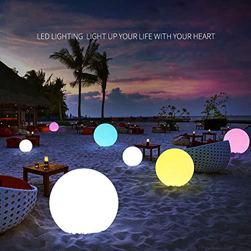 Porfeet LED Ballon, Aufblasbarer PVC Ballon Fernbedienung LED Ball Strand Schwimmbad Dekoration Weiß