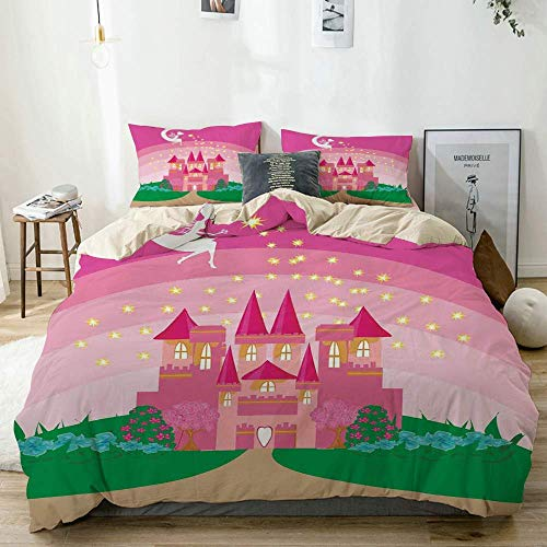 Juego de fundas nórdicas Beige, Magic Magic Fantasy Fairy Tale Princess Castle Pixie in Sky Fictional Dream Kingdom Green Pink, juego de cama decorativo de 3 piezas Tamaño doble con 2 fundas de almoha