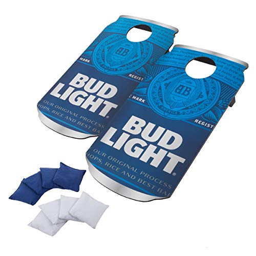 Bud Light Cornhole Outdoor Game Set, 2 Wooden Anheuser-Busch Can-Shaped Corn Hole Toss Boards with 8 Bean Bags, Blue/White, 37x19x4.625
