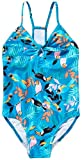 Speedo Girls Racerback Thin Strap Front Tie One Piece Swimsuit (Blue/Capri Breeze X-Large 16)