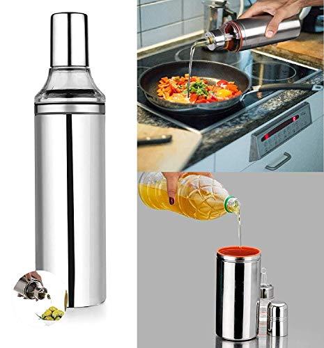 Rudra World Stainless Steel 1000 ml Cooking Oil Dispenser Oil Nozzle Dropper Container, Dust & Leak Proof Oil Bottle Pourer, Oil Pot with Sharp Finish, Vinegar Dispenser (Silver)