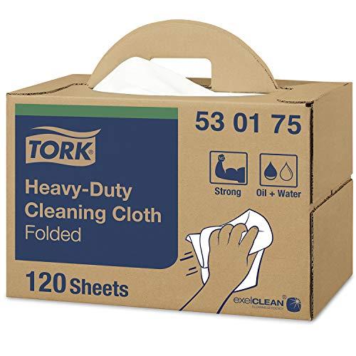 Tork 530175 Paño de limpieza ultrarresistente Premium/Papel multiuso compatible con el sistema W7 / 1 caja x 120 paños/color blanco