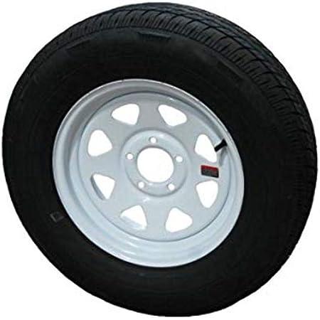 Set of 2 15 Trailer Tires Rims ST205//75D15 Tire Mounted Bolt Circle White Spoke Trailer Wheel 5x4.5