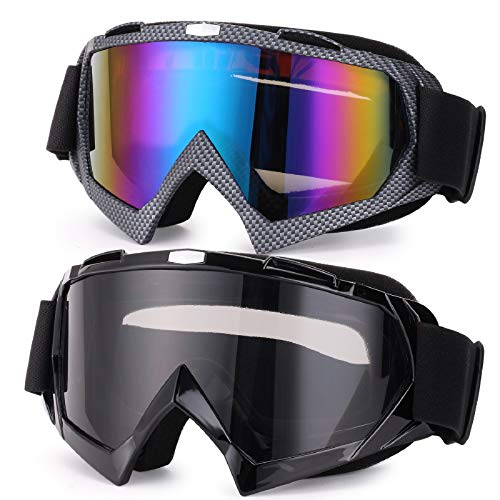 Rngeo Ski Goggles, 2 Pack Snowboard Glasses Men Women UV Protection Anti-Glare