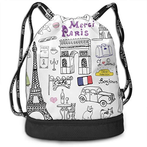 Multifunctional Drawstring Backpack for Men & Women, Paris Culture In Doodle Style Drawing Eiffel Tower Beret Croissant Blue Cheese Taxi,Travel Bag Sports Tote Sack with Wet & Dry Compartments