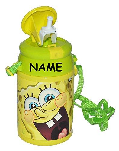 alles-meine.de GmbH Trinkflasche Pop Up - Spongebob Schwammkopf incl. Namen - Flasche 550 ml auslaufsicher aus Kunststoff - Sportflasche für Kinder - Mädchen Jungen - Plastik