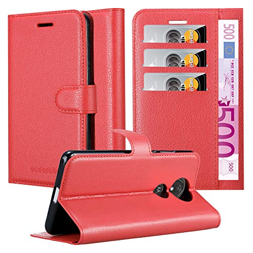Cadorabo Hülle für Motorola Moto G7 Play in Karmin ROT - Handyhülle mit Magnetverschluss, Standfunktion & Kartenfach - Hülle Cover Schutzhülle Etui Tasche Book Klapp Style