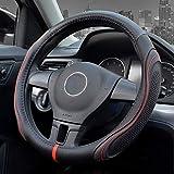 Akmsx ハンドルカバー スポーツ風 普通車 軽自動車 Mサイズ 38cm おしゃれ ステアイングカバー 四季汎用 滑り止め 通気性いい 手触りよし 車用内装パーツ 36.5-37.9cmハンドル対応 ブラック
