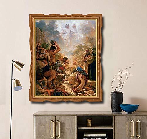 SDFSD Der Erlöser Jesus Christus Ölgemälde auf Leinwand Malerei Kalligraphie Kunst Wohnkultur Wandkunst Bild für Wohnzimmer Church40x50cm