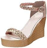 Minetom Damen Sandalen Sommer Schnalle Wedge Absätze Peep Toe Römersandalen Strand Elegant Sexy Mode Sandal Schuhe Gold EU 43