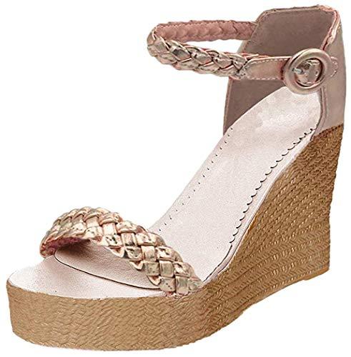 Minetom Damen Sandalen Sommer Schnalle Wedge Absätze Peep Toe Römersandalen Strand Elegant Sexy Mode Sandal Schuhe Gold EU 41