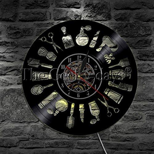 GODYS Salon de Coiffure Professionnel Outils Disque Vinyle Horloge Murale Barbier Coiffeurs Salon Beauté Cadeaux Faits à la Main-WTH_LED