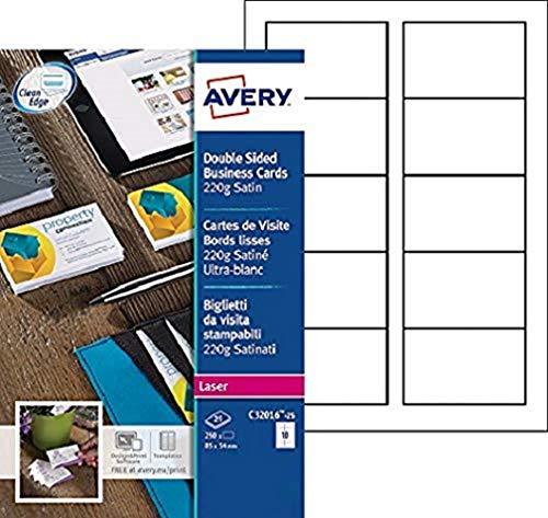 Avery C32016-25 Tarjetas de visita con acabado satinado imprimibles a doble cara para impresoras láser, 10 tarjetas por hoja A4, blanco