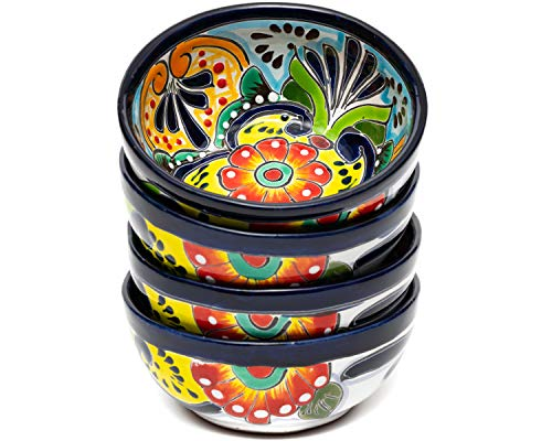 Enchanted Talavera Ceramic Hand-Painted Set of 4 Cereal Soup Bowls Small Bowls Fruit Bowl Salad Bowl Party Snack Bowl (4 Piece Cereal Bowl, Multi Color)
