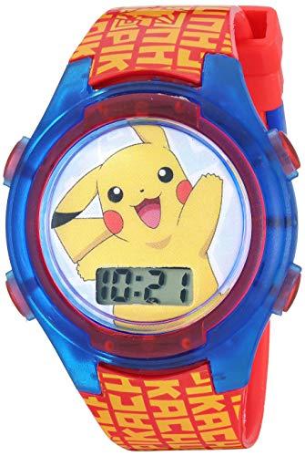 Pokemon Boys' Quartz Watch with Plastic Strap, Red, 18 (Model: POK4183AZ)