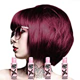 4 X Crazy Color Renbow Semi-Permanent Hair Colour Cream Dye 100ml Box of Four-Burgundy
