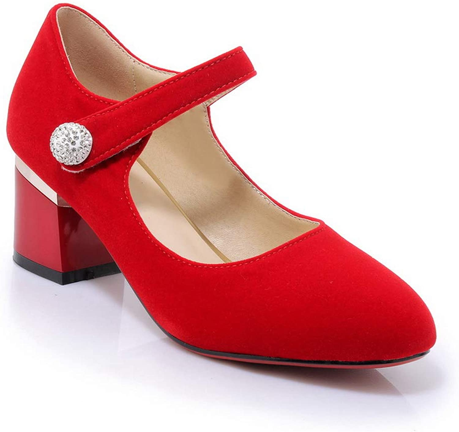AN Womens Hollow Out Square Heels Pointed-Toe Imitated Suede Pumps shoes DGU00603